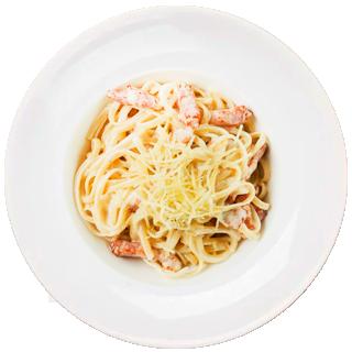 Спагетти с ветчиной домашней со сливочным соусом